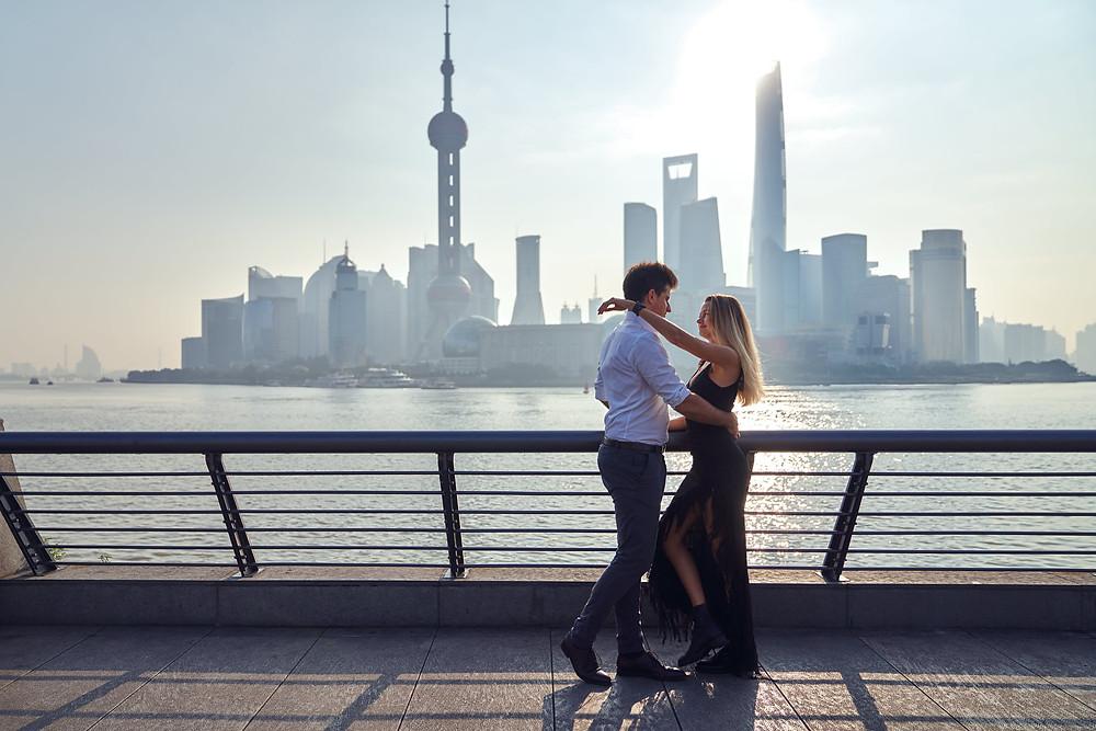 lifestyle couple portraits at the bund Shanghai