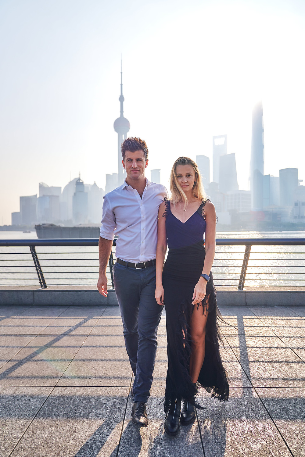 fashion coupld shooting in Shanghai