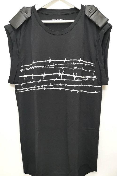 NEIL BARRETT エポーレット有刺鉄線刺繍ノースリーブカットソー XXS