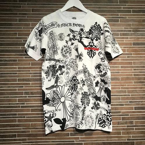 CHROME HEARTS 全面ロゴ胸ポケット Tシャツ S