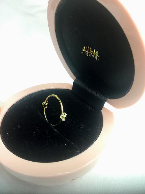 AHKAH 0.03ctダイヤダブルハートリング