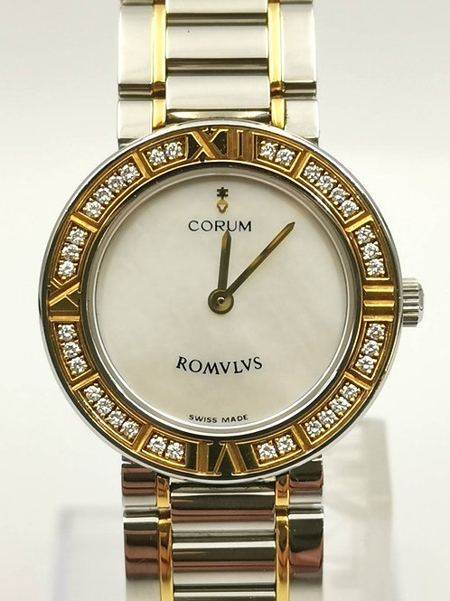CORUM  V409  ロムルス  K18YG/SS  シェル  ダイヤ