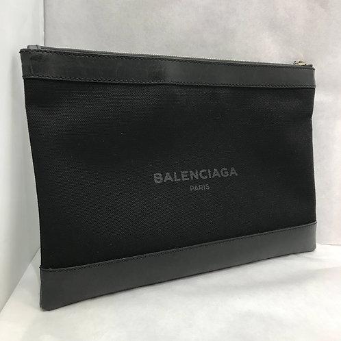 BALENCIAGA ネイビークリップ クラッチバッグ M