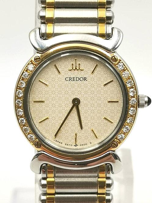 CREDOR  5A74-0210  K18YG/SS  ダイヤ