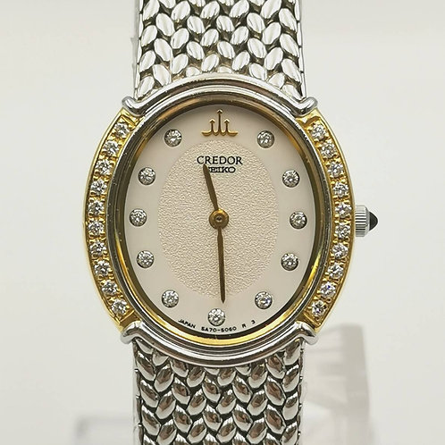 CREDOR  5A70-3000  K18YG/SS  11Pダイヤ  ダイヤベゼル