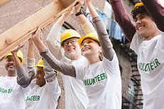 Volontaires, levage, cadre construction