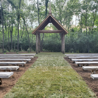 New Sod, Mulch, & Benches at the Chapel in the Woods