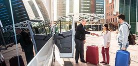 Driver of a airport shuttle minivan, gre