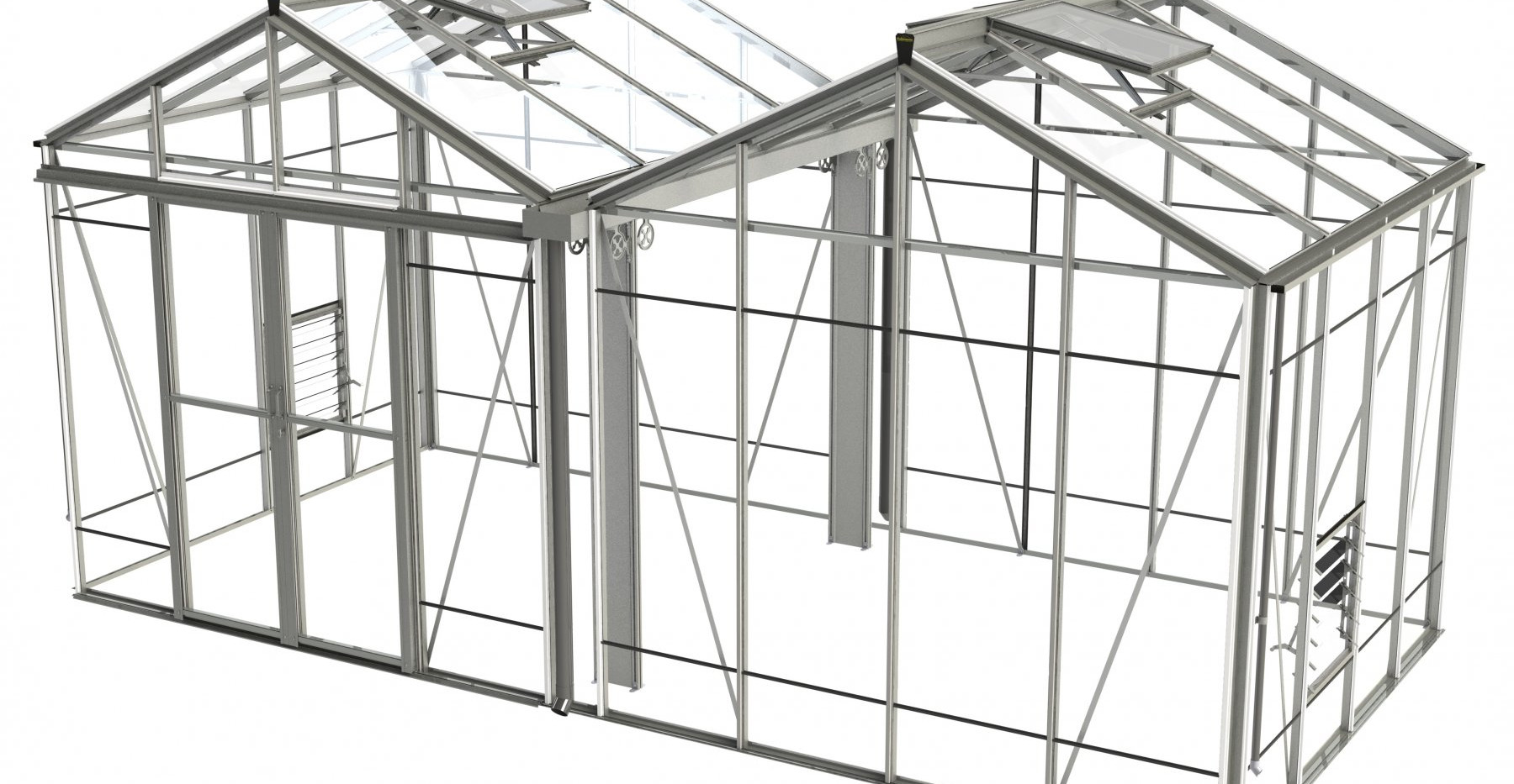 Robinsons Royale Reach Double Span 17'7 wide Aluminium Greenhouse