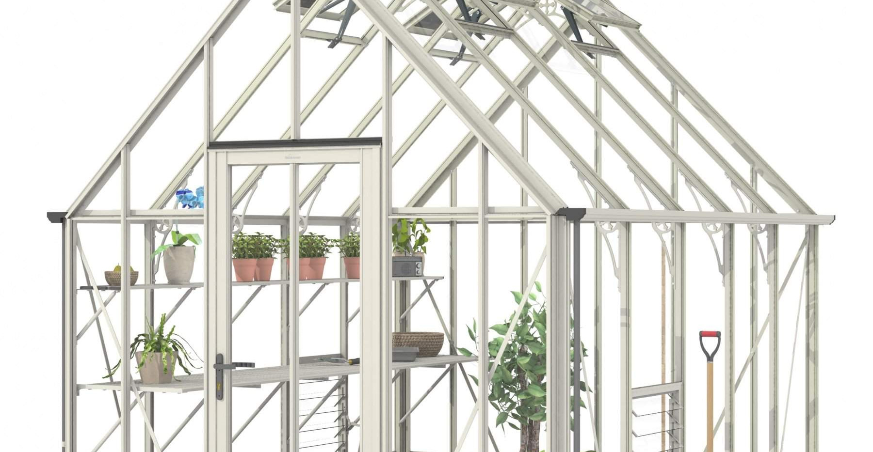Robinsons Victorian Ratcliffe 8'7 wide Aluminium Greenhouse