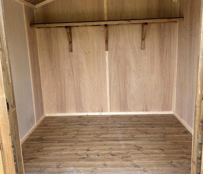 Internal plywood lining to walls, with T&G to roof & floor