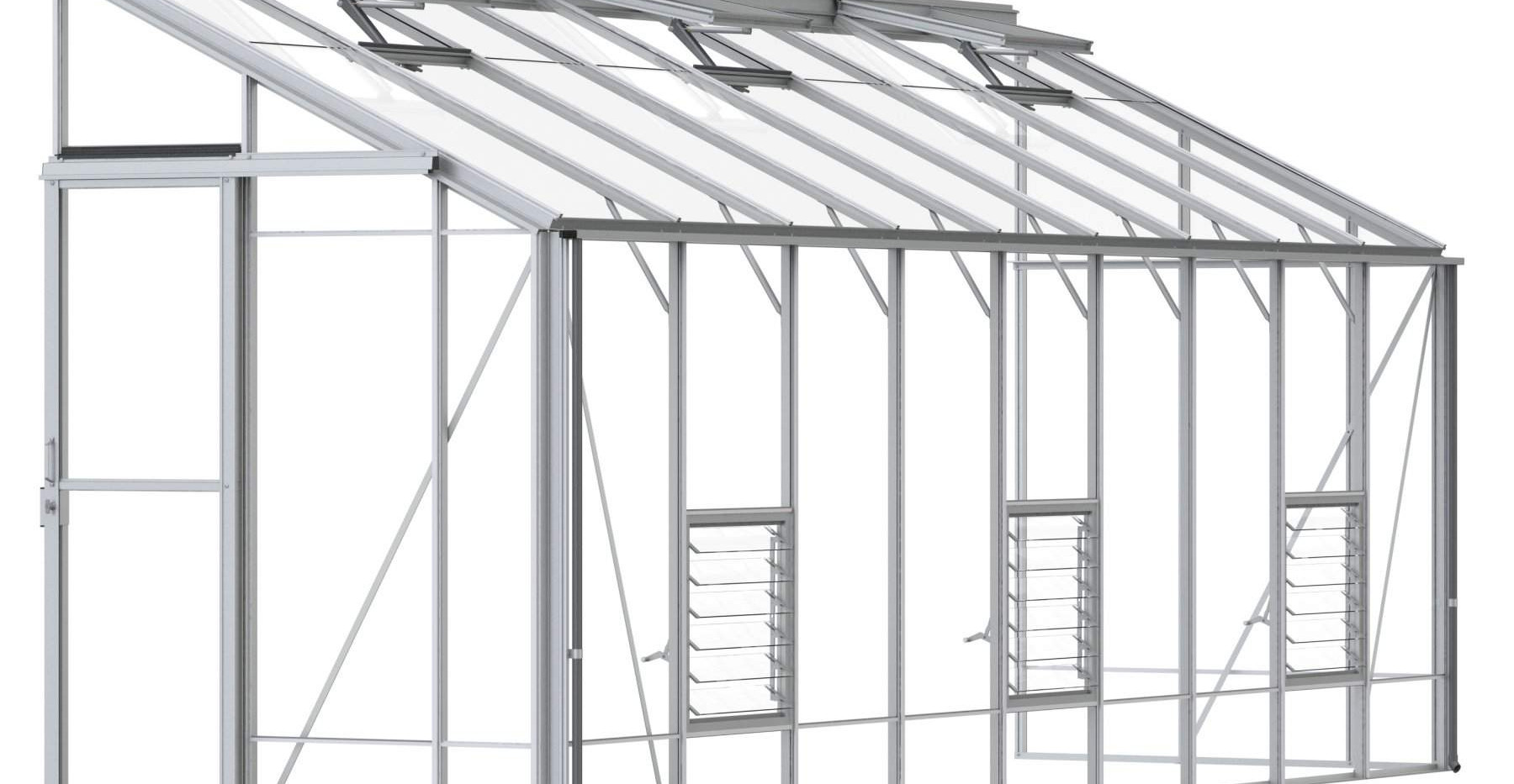 Robinsons Lean-To 5'4 deep Aluminium Greenhouse