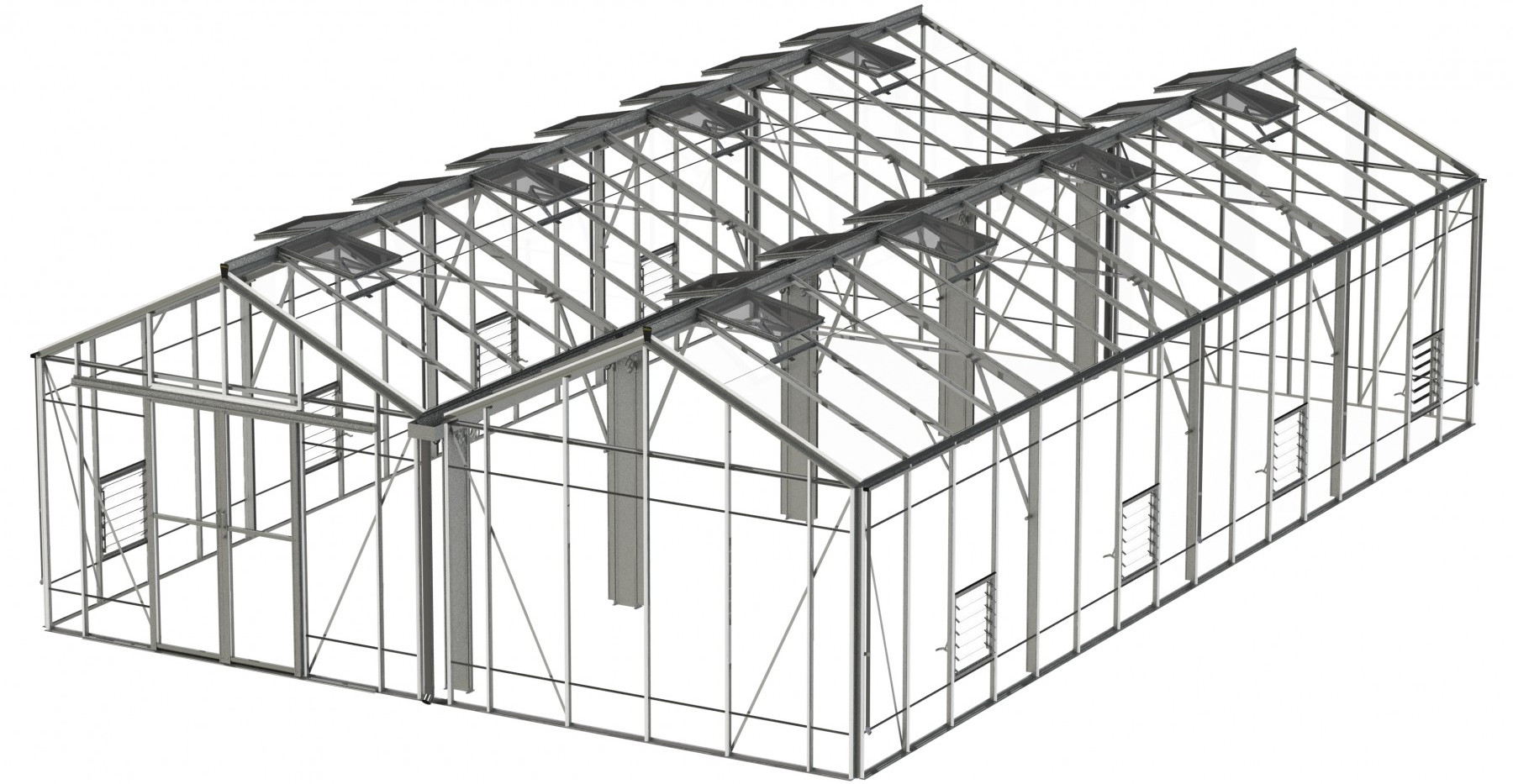 Robinsons Rosette Reach Double Span 21'9 wide Aluminium Greenhouse