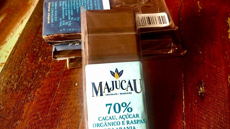 Majucau Barra de Chocolate 70% com Raspas de Laranja 30g