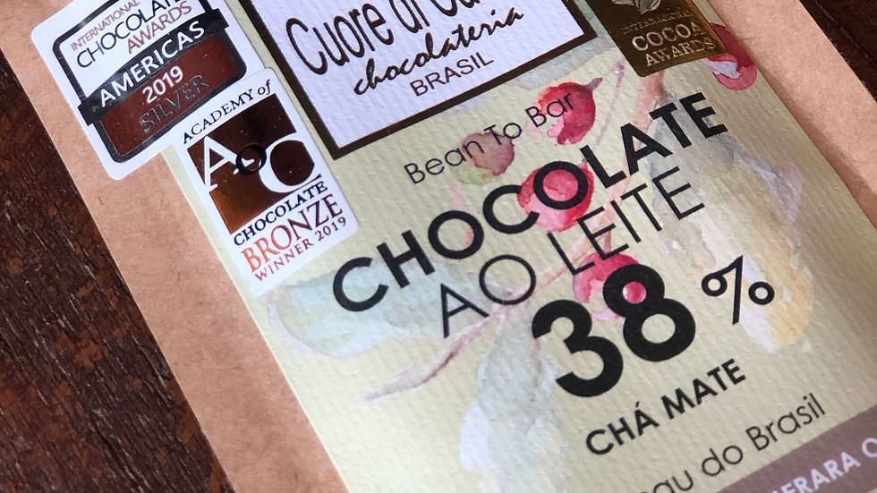 Cuore di Cacao - Chocolate ao Leite 38% Cacau e Chá Mate 50g