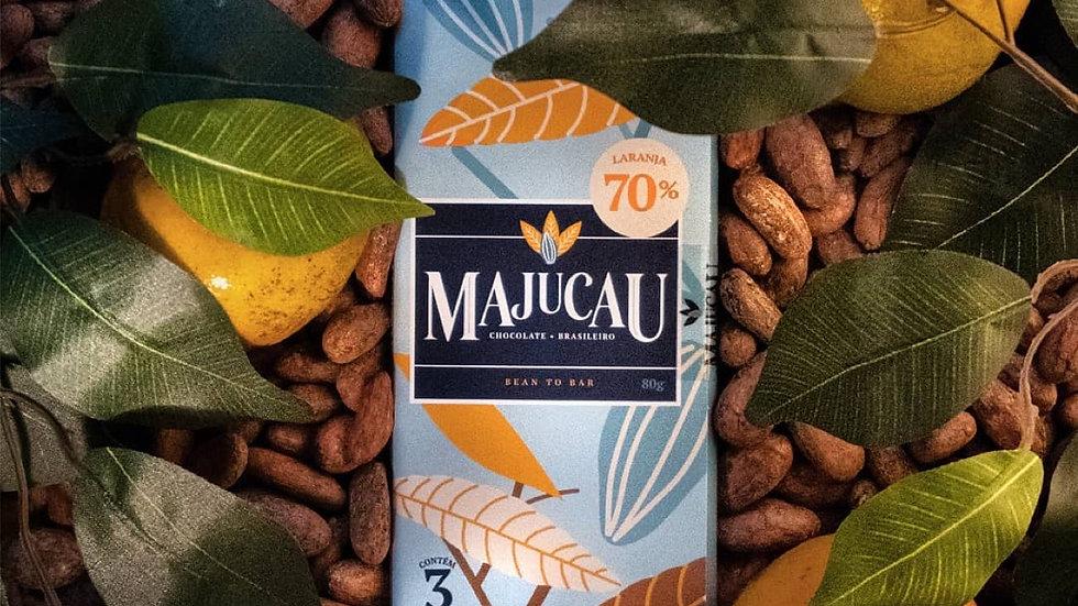 Majucau Barra de Chocolate 70% com Raspas de Laranja 80g