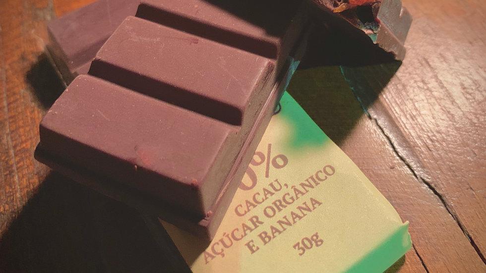 Majucau Barra de Chocolate 70% com Banana Passa 30g