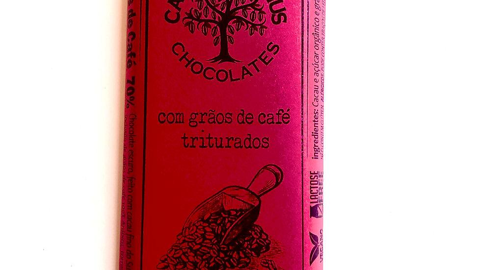 Casa Lasevicius Chocolate 70% Cacau com Grãos de Café Triturados 40g