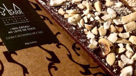Labarr - Chocolate ao Leite de Coco 55% Cacau com Castanha de Caju 80g