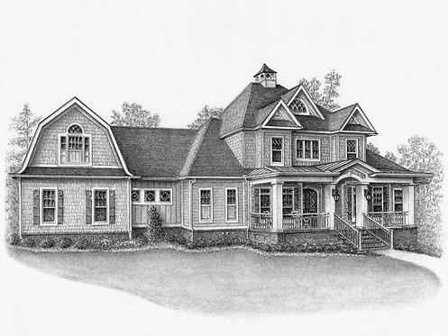 Custom Portrait of Your Home in Pencil - 1 Payment in Full