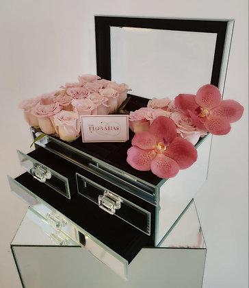 Alhajero en Espejo con rosas y orquídeas Grande