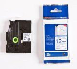 """Brother TZeFA3 12mm (0.47"""") Navy Blue on White Fabric Iron-on Tape for P-touch 3"""