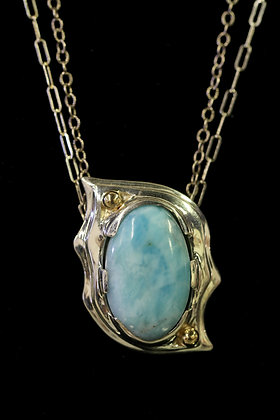 Larimar Pendant on Double Strand
