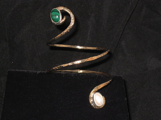 Bronze Arm Cuff with Malachite and Mabe Pearl-SOLD