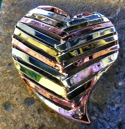 Tri-Metal Heart Shaped Brooch - SOLD