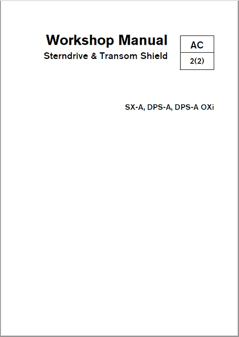 Workshop Manual Sterndrive & Transom Shield