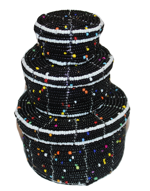 Set of 3 beaded pots