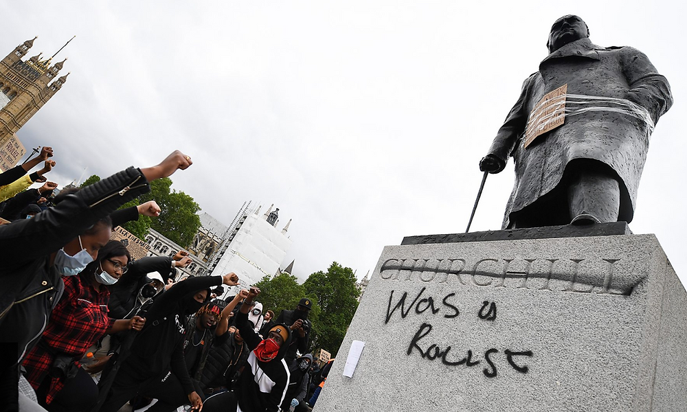 The Parliament Square Churchill statue during a BLM protest
