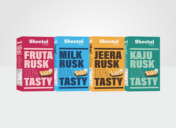 Rusk Combo Pack of 4 ( Fruta + Jeera + Milk +Kaju)