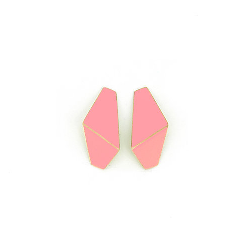 "SOLD! ""Folded"" earrings slim pink"