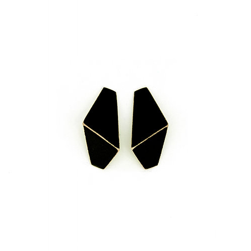 """Folded"" earrings slim black"