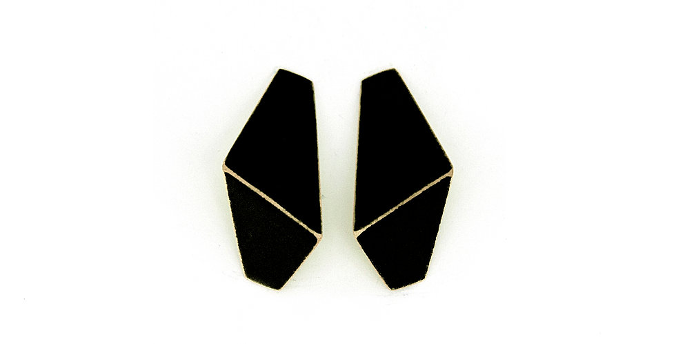 """Folded"" earrings slim black"