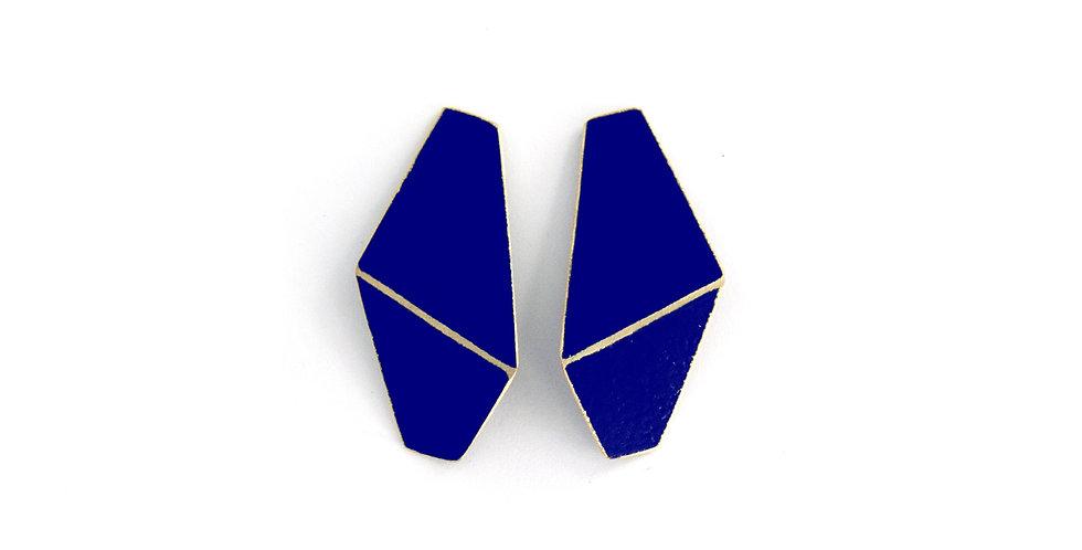 """Folded"" earrings slim dark blue"