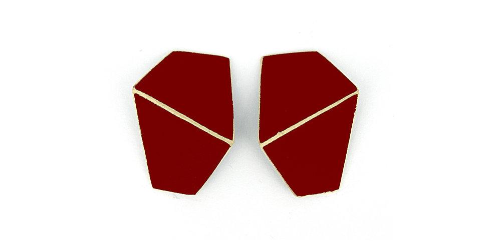 """SOLD! """"Folded"""" earrings wide dark red"""