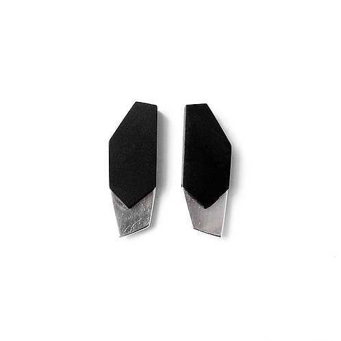 Ebony plate – Ebony with silver plate earrings