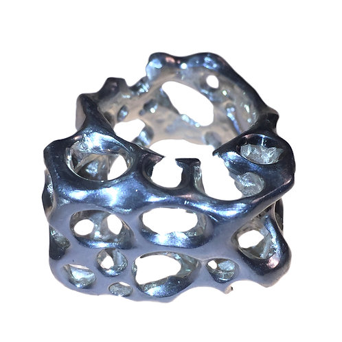 FLOW 3D II Silver Ring