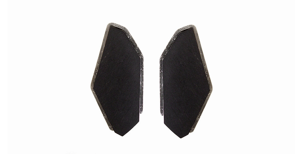 Ebony frame – Ebony with silver frame earrings