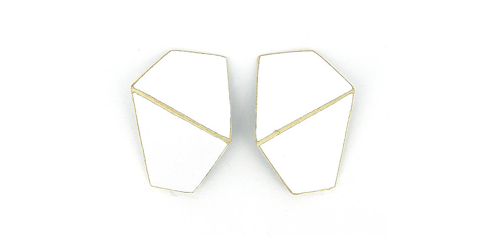 """""""Folded"""" earrings wide white"""