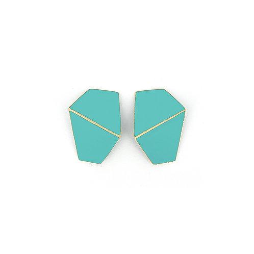 """""""Folded""""  earrings wide light blue"""