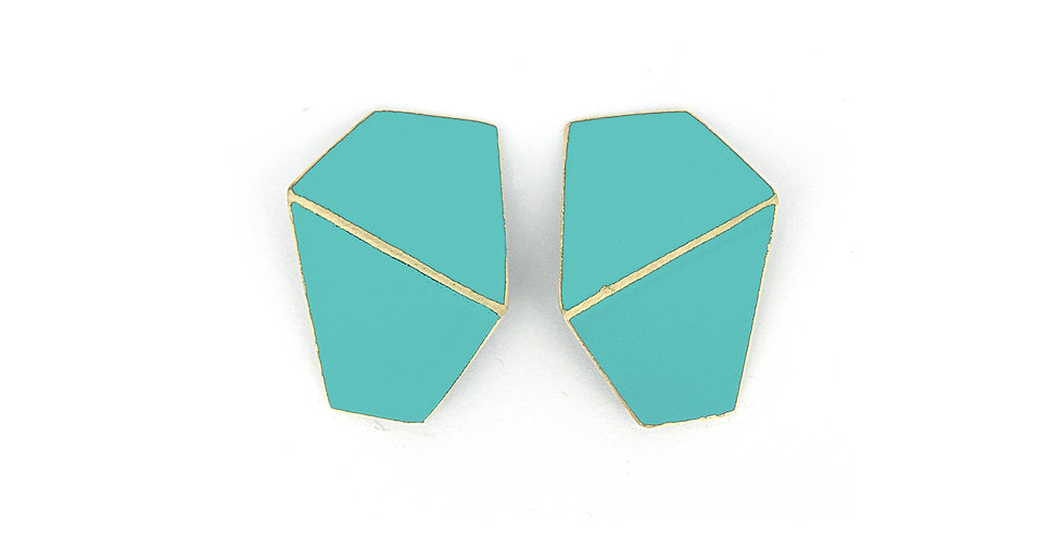 """Folded""  earrings wide light blue"