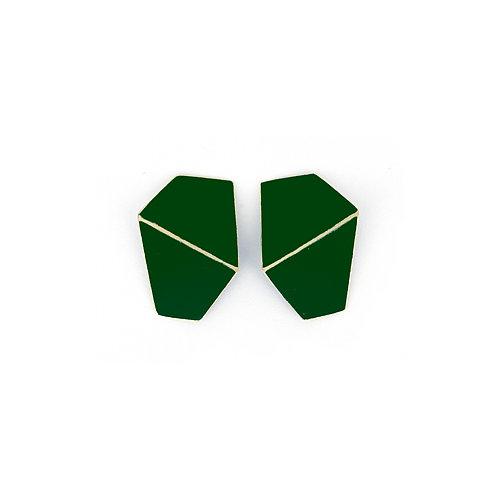 """""""Folded"""" earrings wide dark green"""