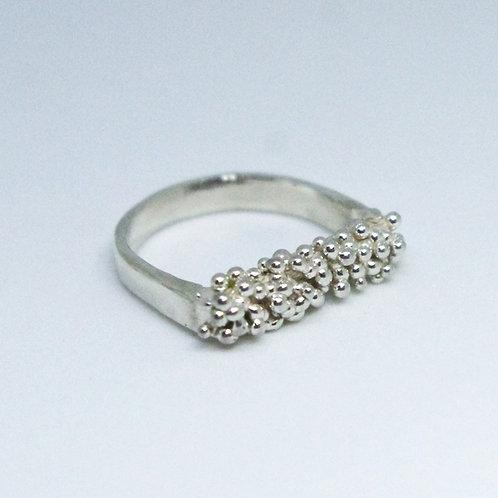 U Shape Organic Silver Ring
