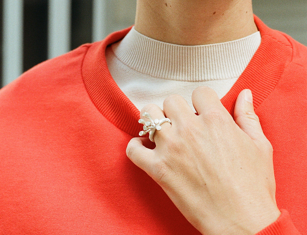 Coral, Baby Tulips II Ring