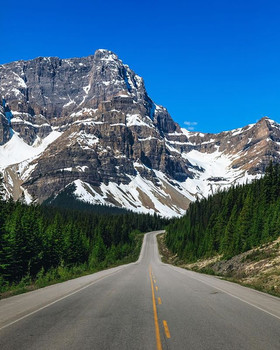 On the road to Jasper National Park. The