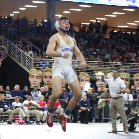 State Champion Tyler Orta on top of the world.