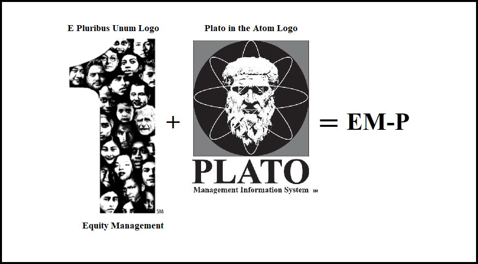 This schematic shows the Equity Management-Plato Logo which is made up of the E Pluribus Unum Logo and the Plato MIS Logo
